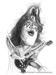Another in my series of caricatures of KISS… guitarist Ace Frehley! As always the original is available in the Studio Store. Caricature Artist, Caricature Drawing, Drawing Art, Celebrity Caricatures, Celebrity Drawings, Gene Simmons, Kiss Art, Ace Frehley, Pictures To Draw