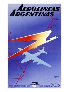 Vintage Argentina Airlines Travel Aviation Poster - A large collection of Vintage Aviation Posters, Art, and Prints from Enjoy Art. Belle Epoque, Vintage Travel Posters, Vintage Airline, Poster Vintage, Argentina Travel, Air Festival, Air France, Destinations, Advertising Poster