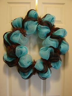 Mesh Door Wreaths in Turquoise | Chocolate & turquoise mesh wreath $35