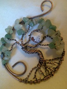 """Large Tree of Life made with recycled copper, oxydized and hand polished. Stones are Green Aventurine and New Jade with a Jasper """"moon""""."""