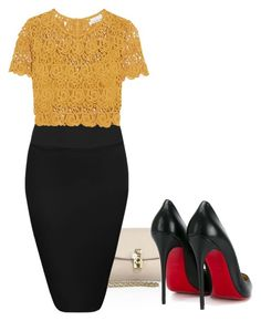 """Untitled #1112"" by miss-eli-pink ❤ liked on Polyvore featuring Dolce&Gabbana, Miguelina and Christian Louboutin"