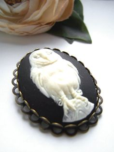 the owl cameo brooch by barberryandlace on Etsy, $12.00