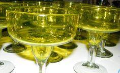Swanky Lot of 11 Hand Blown Green w Clear Stem Bubbles Margarita Glasses Mexico | eBay
