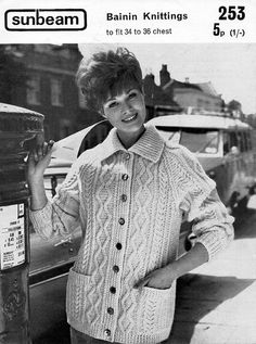 L6025 ladies aran jacket knitting pattern pdf womens aran cardigan pockets collar Vintage 60s 34-36 inch Instant Download All patterns are in English. Please refer to the pictures above for information from pattern on sizes, materials used, needle size etc. Click on the white