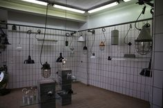 collection of industrial lamps at Blom and Blom Gallery/ Amsterdam