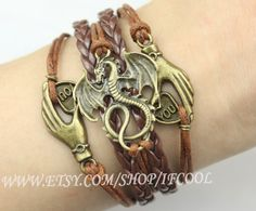 Lord of the rings of the dragon bracelet Antique Bronze Pterosaur Charm Bracelet Wax Cords and Imitation Leather Braid Bracelet on Etsy, $6.99