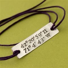 Latitude and Longitude Cotton Cord Bracelet - Spiffing Jewelry