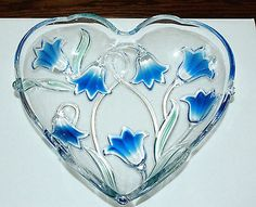 Mikasa Crystal-Bluebells Blue Flower Heart Shape Serving Bowl Dish