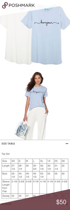 HSN Soft & Cozy Loungewear Tees (2pk) Soft & Cozy Loungewear Affirmation and Solid 2pk Tees. New, never worn. Runs large. Blue tee with Bonjour embroidered and solid white tee. This combination pack includes a positive affirmation tee and one solid, taking your downtime to new levels of style and comfort. Not your ordinary tees, these moisture-wicking, antimicrobial garments are designed with the cooling properties of bamboo. The supple fabric makes relaxation even more enjoyable — and a top…