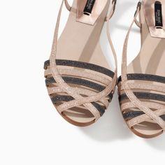 GLITTER FLAT SANDAL from Zara. Loveeee these. So comfy