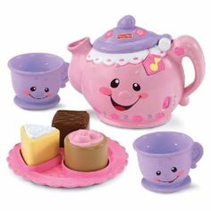 """Fisher-Price Laugh and Learn Say Please Tea Set: When you tip it to pour, it sounds like the bubbles of real-pouring-tea! And it teaches """"thank you"""" and """"please"""" manners! Can't be any cuter! (Wish I had one growing up!)"""