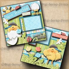 BABY BOY ~ JUST HATCHED ~  2 premade scrapbook pages paper LAYOUT BY DIGISCRAP | Crafts, Scrapbooking & Paper Crafts, Pre-Made Pages & Pieces | eBay!