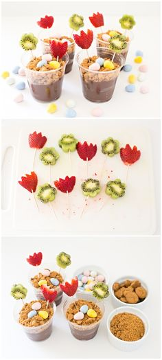 Spring Easter Fruit Flower Pudding Treat. Whip up this easy Easter treat and dessert kids will love!