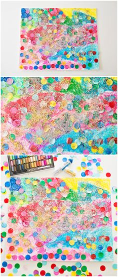 Confetti Glitter Art Project for Kids. Celebrate New Year with this sparkly glitter art.