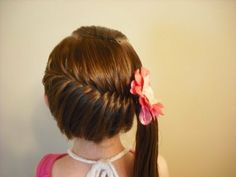 French fishtail into Side ponytail with flower