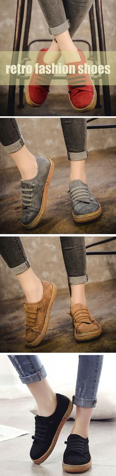 US$14.43  Suede Slip On Soft Loafers Lazy Casual Flat Shoes For Women
