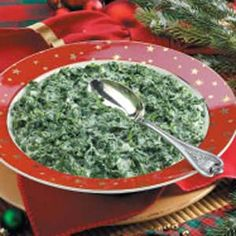 Creamed Spinach using fresh spinach. I just add a little garlic to mine.