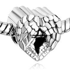 Pugster Heart Angel Wing European Love Charm Beads Fit Pandora Charm Bead Bracelet