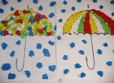 Umbrella crafts for preschool Kids Crafts, Fall Crafts For Toddlers, Preschool Art Projects, Toddler Crafts, Fall Arts And Crafts, Autumn Crafts, Autumn Art, Summer Crafts, Tissue Paper Crafts