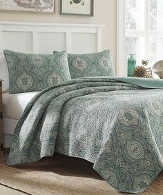 Blue Turtle Cove Quilt Set by Tommy Bahama #zulily #zulilyfinds this looks more green but pretty  design   $74.99    100  %  cotton  too