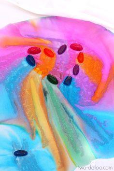Big Process Art: Rainbow Ice Painting - Twodaloo