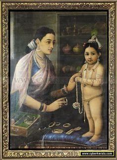 Yasoda Adorning Krishna-by Raja Ravi Verma