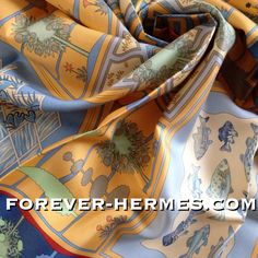 """In our store! http://forever-hermes.com #ForeverHermes this couture house Hermes Paris's silk scarf titled Paridaiza designed by Eugene Brunelle featuring a #paradise #maze of #fish and #gardens in old #Persian language this was the word for """"Enclosed Garden""""! Can be confounded with the #Belgium #ThemePark & #botanical gardens #PairiDaiza though for sure #HermesParis didn't expec that! #dapper #gentleman #tree #MensSuit #MensWear #mensfashion #womensfashion #womenswear #WallDecor #Hermes"""