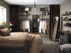 New bedroom closet curtains ideas Bedroom Apartment, Home Bedroom, Apartment Living, Bedroom Decor, No Closet Bedroom, Closet Wall, Bed In Closet, Bedroom Storage, Closet Ideas For Small Spaces Bedroom