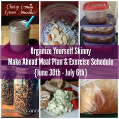 Make ahead menu plan and exercise schedule june 30th - july 6th