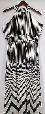 Elena Fashion Sz L Striped Sleeveless Maxi White/ Black Dress NEW   eBay