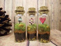 Sweet Set of Three Live Miniature Terrariums With Raku Fired Heart, Flower, and Glow in the Dark Mushroom - Handmade by Gypsy Raku