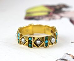 Georgian Turquoise and Pearl Eternity Band Ring, 18k Circa 1830 Antique Stacking Ring, Geometric Design, Hallmarked