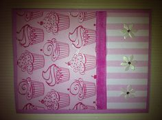Pink Cupcake and Stripe BD Card