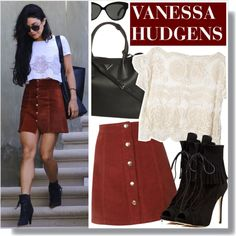 Vanessa Hudgens in Mini Skirt by anne-mclayne on Polyvore featuring polyvore, fashion, style, Jens Pirate Booty, Topshop, Giuseppe Zanotti, Prada, Linda Farrow, GetTheLook and StreetStyle