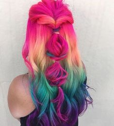 Beauty: Fantasy Unicorn Purple Violet Red Cherry Pink yellow Bright Hair Colour Color Coloured Colored Fire Style curls haircut lilac lavender short l. Twisted Hair, Bright Hair Colors, Colorful Hair, Hair Colours, Rainbow Colors, Cake Rainbow, Girl Hair Colors, Colorful Food, Rainbow Shoes