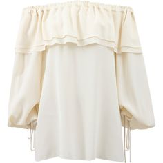 Michael Kors Off The Shoulder Blouse ($995) ❤ liked on Polyvore featuring tops, blouses, loose blouse, michael kors blouse, white off shoulder blouse, white silk blouse and peasant tops