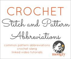 Learn what all those crochet abbreviations mean with Moogly! Bookmark this to be able to read any American English crochet pattern! Crochet Symbols, Crochet Stitches Patterns, Crochet Chart, Love Crochet, Learn To Crochet, Stitch Patterns, Knit Crochet, Moogly Crochet, Crochet Videos
