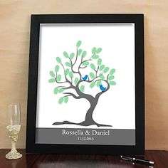 Personalized Fingerprint Painting Canvas Prints - Tree And Birds (Includes 6 Ink Colors And Frame)