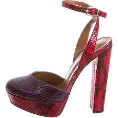 Pre-owned Kurt Geiger Pumps ($95) ❤ liked on Polyvore featuring shoes, pumps, purple, high heels stilettos, ankle strap stiletto pumps, round toe pumps, stilettos shoes and ankle strap pumps