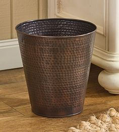 Hammered Copper Finish Antique Style Waste Basket You Can Find More Details By Visiting
