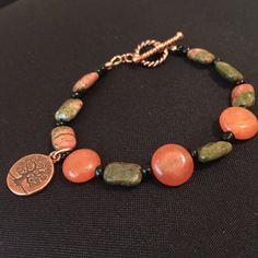 Gemstone Bracelet / Tree of Life Charm by EllendaleMtnDesigns