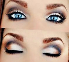 Smokey eye brown makeup for blue eyes 2017 simple and attractive eyeshadow tutorial Cat Eye Makeup, Blue Eye Makeup, Makeup For Brown Eyes, Lip Makeup, Makeup Tips, Beauty Makeup, Makeup Ideas, Cool Blonde Hair, Blue Hair