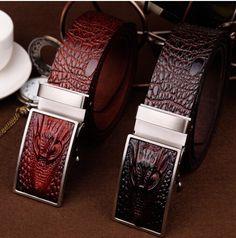 New The crocodile automatically men belt Free shipping leather men belt Luxury buckle belts for men