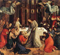 """""""Comunión de los Apóstoles"""" de Justo de Gante (1475). Ubicado en Galleria Nazionale delle Marche, en Urbino, Italia."""