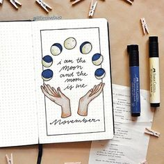 November cover is here. I have always loved the moon, it has always been a support in sad moments and something that makes me think. - Site Today - November cover is here. I have always loved the moon, it has always been a support in sad moments a - Bullet Journal Page, Bullet Journal Notebook, Bullet Journal Inspo, Bullet Journal Reflection, Book Journal, Citation Photo Insta, Geometric Tatto, Kunstjournal Inspiration, Bullet Journel