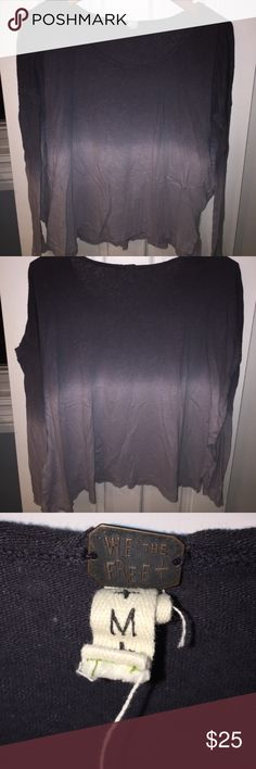 Free people ombré long sleeve tee Only worn once. Free People Tops Tees - Long Sleeve