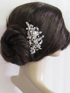 Large crystal hair comb,bridal hair comb, wedding brooch comb, bridal headpiece, bridal hair accessories, wedding pearl hair comb. $55.00, via Etsy.