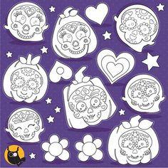 80 OFF SALE Sugar Skulls Digital Stamp Commercial Use Black