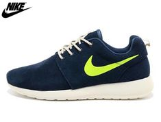 the latest 027c6 71457 2013 Mens Womens Nike Roshe One Low Anti Fur Waterproof Running Shoes Navy  Electric Green,