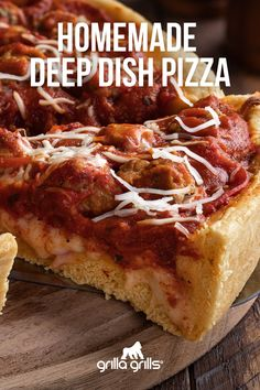 Deep dish pizza? YES, please! Any day is the perfect day for pizza! 🍕 We've included instructions to turn a meat-lovers pizza into a veggie pizza! 😉 #pizza #veggie #meat #deepdishpizza #pizzaideas #grilling #grillingrecipes #recipes Meat Pizza, Meat Lovers Pizza, Veggie Pizza, Grilled Pizza, Hot Sausage, Spicy Sausage, Smoked Pizza, Deep Dish Pizza Pan, Beef Ham